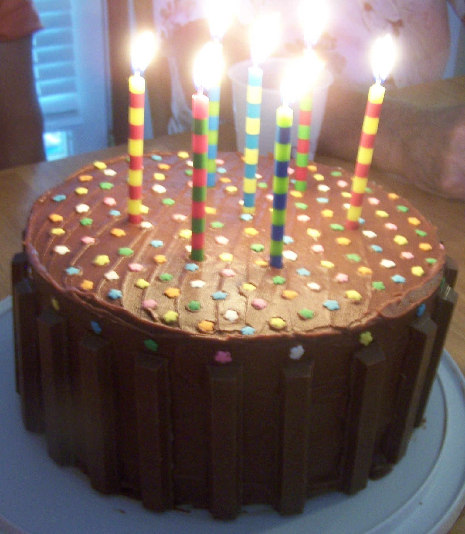 Chocolate Birthday Layered Cake With Whipped Cream Filling Happy